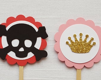 Pirate & Pink Princess Birthday Party Cupcake Toppers, Set of 12