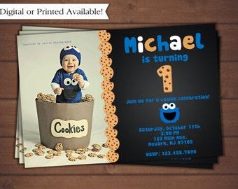 Cookie Monster Birthday Invitation - Printable Cookie Monster Invitation