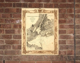 New York City  Vintage Print Poster Map in 1860
