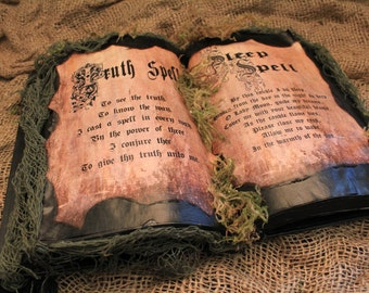 """Halloween Spell Book, """"Truth Spell & Sleep Spell"""", Halloween Decoration, Halloween Prop, Spells, Halloween Display, One-Of-A-Kind, Recycled"""