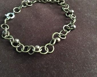 Bronze Chain and Bead Bracelet