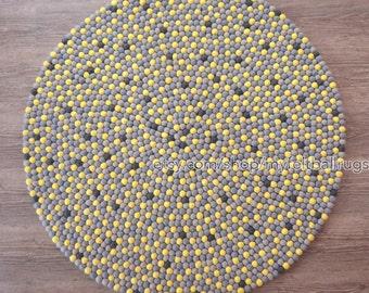 Golden delight felt ball rug, Grey and golden felt ball rug, felt ball rug round, 120 cm felt ball rug , free delivery, felt ball rugs