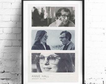"""ANNIE HALL, Woody Allen, Original Art, Minimalist Movie Poster Print 13 x 19"""""""