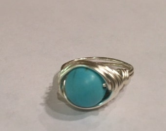 Turquoise silver wire wrap ring