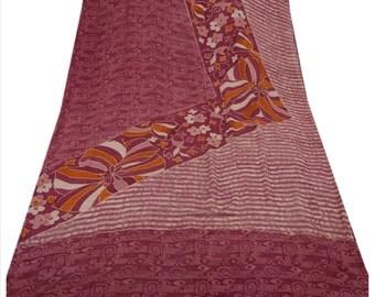 KK Pure Georgette Silk Saree Pink Printed Sari Craft Dress Fabric