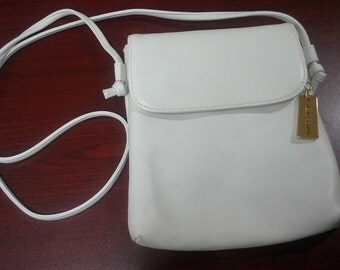 Giani Bernini White Leather Crossbody Purse