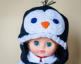 Knit penguin hat, animal hat, baby hat, fleece lining, photoprops, neutral baby, toddler penguin hat, ear flap hat, hat with ties