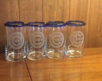Etched Chicago Cubs glasses - set of 4