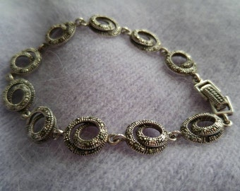 Marcasite and CZ Link Bracelet NBJ213 Marcasite Bracelet