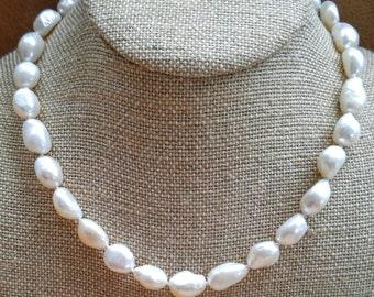 Big Chunky Cultured Pearl Necklace NBJ301 Bride Bridal Big Pearls