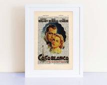 Casablanca Poster Print on a vintage encyclopedia page (unframed) - home decor, wall art, cinema decor, Humphrey Bogart, Ingrid Bergman