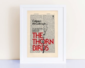 The Thorn Birds by Colleen McCullough Print on an antique page, book cover art