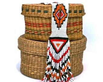 Native American Beadwork Sautoir Flapper Necklace