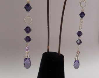 Long Evening Sterling Silver Earrings with Violet Swarovski Crystal