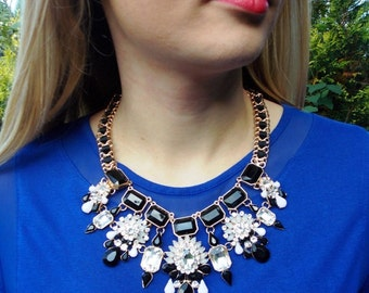 Black and White Monochrome Statement Necklace