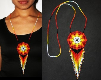 Medallion Necklace, Huichol Jewelry, Native American Style Beaded Jewelry, Morning Star Necklace, Sun Necklace, Huichol Necklace