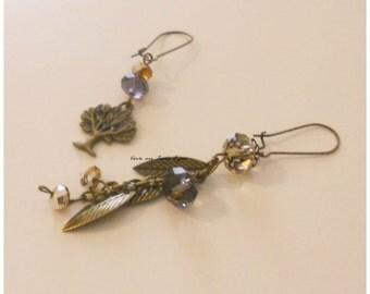 earrings with tree,leaf and crystal,Jewelry nature,orecchini albero della vita,foglie e cristalli
