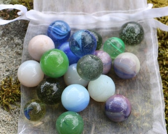 Original Vintage glass marbles. French Vintage Chic