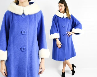50s Royal Blue Wool Coat | White Mink Fur Collar & Cuffs | Blue Wool Winter Coat | Andover | Medium Large