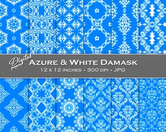 Azure and White Damask Backgrounds - Digital Scrapbook Papers - 12 sheets, 12x12, CU OK - Instant Download