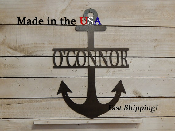 Anchor with name children 39 s name decor door decor for Anchor door decoration