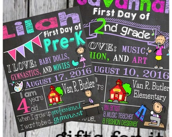First Day of school Back to School Chalkboard Sign Poster Digital File- Print your own
