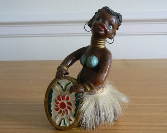 A Little African Drummer Girl from the 1950's. Made in Japan.