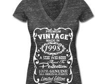 18th Birthday Gift Ideas for Women Unique T-shirt - Made in 1998 Shirt - Memorable V-Neck Shirt - Birthday Gift for Her