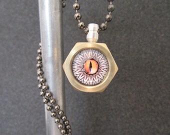 Brass nut steampunk pendant handmade metalwork necklace gift