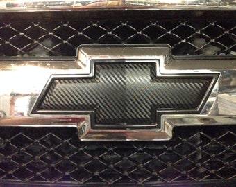 Carbon Fiber Chevy Bowtie Vinyl Overlay Sheets Emblem Decal - Chevy silverado bowtie decal