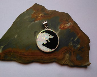 Wolf Pendant Wolf Inlay Yin Yang Pendant Silver Yin Yang Inlay with Lab Opal and Resin with Black Toner