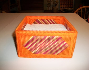 Kitchen Dining Handmade Plastic Canvas Yarn Square Napkin Holder Orange Yellow Pink Brown Tones