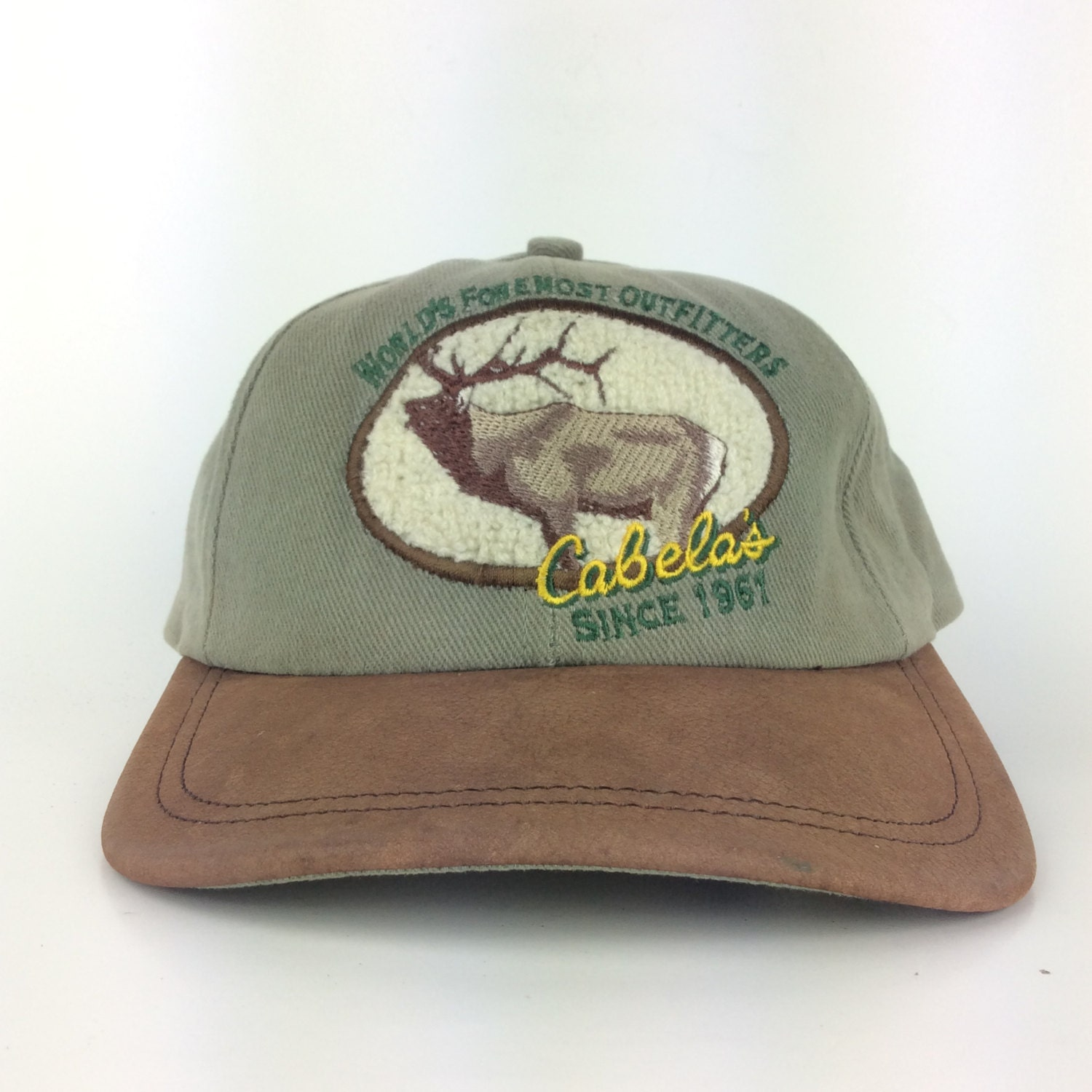 Vintage Cabela's Outfitters Baseball Cap Hat Leather Brim