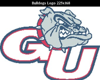 Gonzaga Bulldogs Logo -- Counted Cross Stitch Chart Patterns, 3 sizes included!