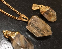 Golden Rutilated Quartz Pendant - raw rutilated quartz necklace - raw golden rutilated quartz crystal - healing crystals and stones - GOLD