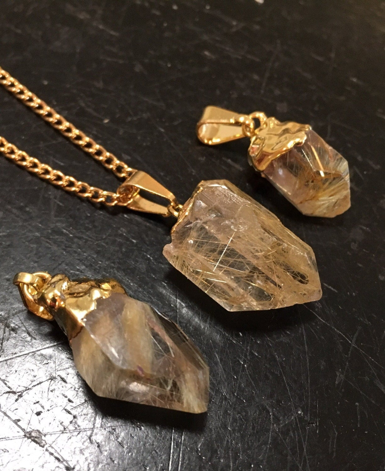 Golden rutilated quartz pendant raw rutilated quartz for Golden rutilated quartz jewelry