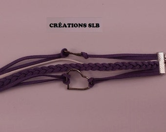 Bracelet purple and white Sweden with heart