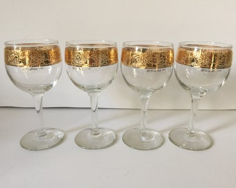 Vintage Culver Wine Glasses...Mid Century Modern Gold Encrusted Wine Glass Set..Culver Ltd. 22kt Gold Band Wedding Gift Set..