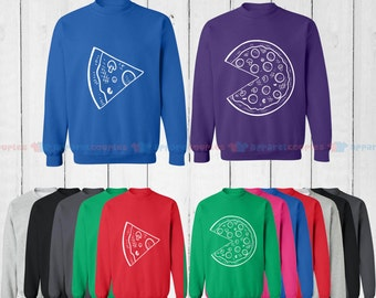 The Missing Piece Pizza & Slice - Matching Couple Sweatshirt - His and Her Sweatshirts - Love Sweaters
