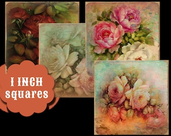 Digital Collage Sheets 1 inch Rose Squares