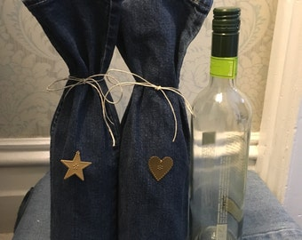 Pair of denim wine bottle gift bags recycled from jeans