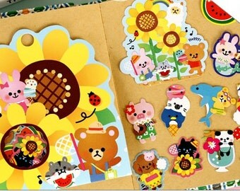 Kawaii Happy Friends Flake Stickers Pack (70Pcs)