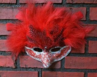 Cardinal red feathered masquerade mask, Halloween mask