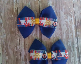 Anchors blue white hair bow set or bow tie 4 inches