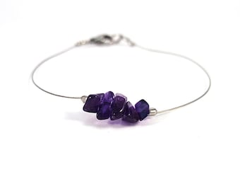 Genuine amethyst jewelry, stainless steel bracelet, natural gemstone jewelry silver wire bracelet amethyst bracelet gemstone bracelet shikky