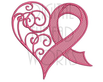 Awareness Heart Ribbon Embroidery Design for 4x4, 5x7, and 6x10 inch Hoops, Breast Cancer Awareness. Instant Download..