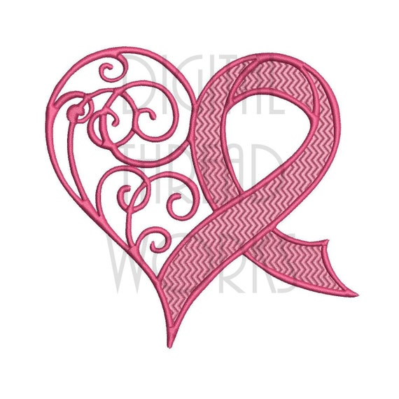 Awareness Heart Ribbon Embroidery Design For 4x4 5x7 And