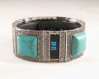 FitBit Charge Band Cover and FitBit Charge HR Cover Bracelet: Turquoise and Silver Greek Key with Window