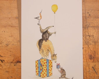 Armadillo, Alpaca, Anteater and an Avocet: Hand Drawn Birthday Card