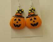 Halloween earrings pumpkin earrings halloween jewelry orange earrings orange jewelry scary earrings gifts for her pumpkin jewelry